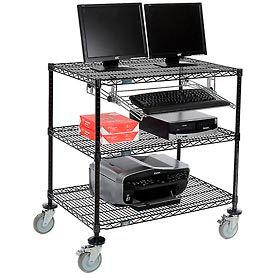 """Nexel™ 3-Shelf Mobile Wire Computer LAN Workstation w/Keyboard Tray, 36""""W x 24""""D x 40""""H, Black"""