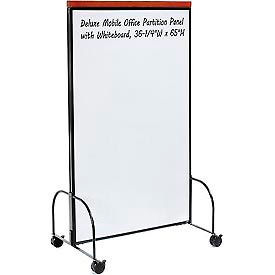 "Deluxe Mobile Office Partition Panel with Double-sided Whiteboard, 36-1/4""W x 65""H"
