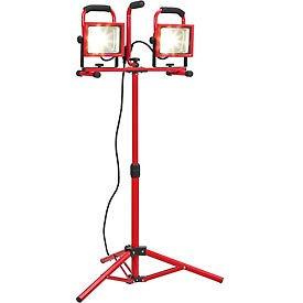 Global™ Portable Dual LED Worklight Floodlights w/Tripod, 20Wx2, 3600 Lumens, IP65, 4000K, Red