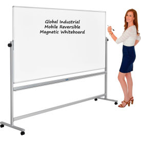 Rolling Magnetic Dry Erase Whiteboard - Reversible - 96 x 40