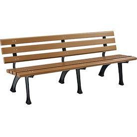 6'L Plastic Park Bench With Backrest - Tan