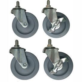 Light/Medium Duty Threaded Stem Casters D-9078 - All Swivel, 2 Locking - Set of 4