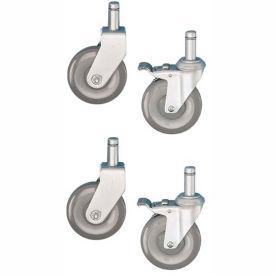 "Nexel - 5"" (2) Rigid, (2) Swivel Casters CA5RSB with (2) Brakes (Set of 4)"