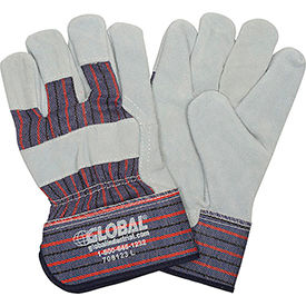 "Global™ Leather Palm Safety Gloves with 2-1/2"" Safety Cuff, Large, 1 Pair - Pkg Qty 12"