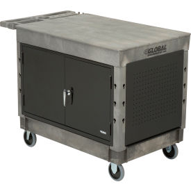 """Industrial Strength Plastic Mobile Work Center with Flat Top 44"""" x 25-1/2"""" Gray, 5"""" Rubber Casters"""