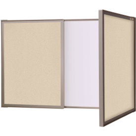 """Ghent VisuALL Conference Cabinet - Tack Surface/Whiteboard Combo - 36""""W x 24""""H - Beige"""
