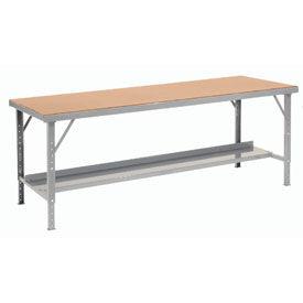 "120"" W x 34"" D Heavy-Duty Extra Long Hardboard Folding Assembly Workbench - Gray"