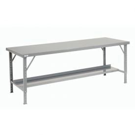 "120"" W x 34"" D Heavy-Duty Extra Long Folding Assembly Workbench - Gray"
