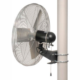 TPI IHP24-PM, 24 Inch Pole Mount Fan Non Oscillating 1/3 HP 3800 CFM 1 PH TE Motor