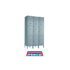 Penco 6319V-3-028KD Door Pull Handle Triple Tier Locker 12x12x24 Unassembled 3 Wide Gray