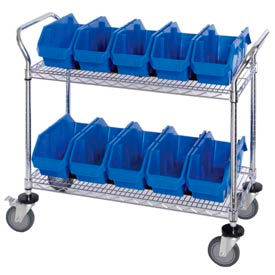 Mobile Wire Shelving Carts With Quickpick Double Hopper Bins