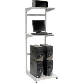 """Global Industrial™ 24"""" Computer Server Station, 24""""W x 30""""D x 74""""H, Gray, Unassembled"""
