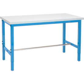 "60""W x 30""D Adjustable Height Workbench Square Tubular Leg - Plastic Laminate Square Edge - Blue"