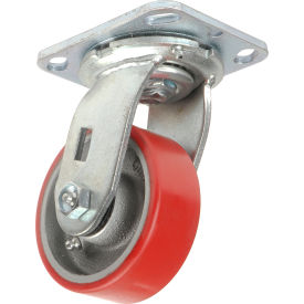 "Global Industrial™ Heavy Duty Swivel Plate Caster 4"" Polyurethane Wheel 600 Lb. Capacity"