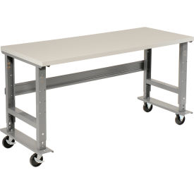 "60""W x 30""D Mobile Adjustable Height C-Channel Leg Workbench - ESD Safety Edge - Gray"