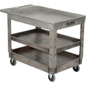 "Industrial Strength Plastic 3 Tray Shelf Service & Utility Cart, 44"" x 25-1/2"", 5"" Rubber Casters"