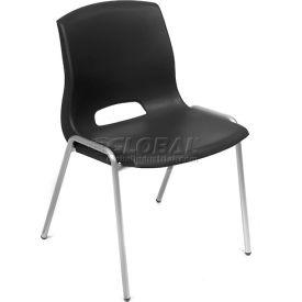 Chaises Interion® Stack - Plastique - Noir - Collection Merion, qté par paquet : 4
