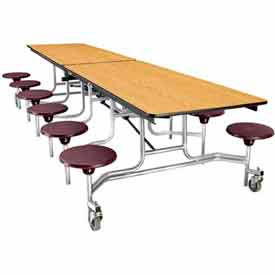 National Public Seating® Rectangular Cafeteria Tables with Stools & Plywood Top