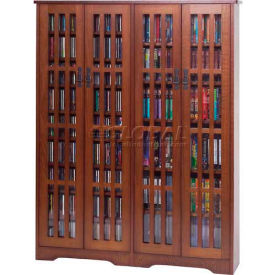 Leslie Dame   Solid Oak Veneer Multimedia Storage Cabinet Glass Doors  Mission Style
