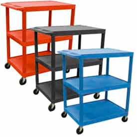 Luxor® Multi-Use 3-Shelf Plastic Utility Carts
