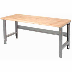 """60""""W X 30""""D Maple Butcher Block Safety Edge Work Bench - Adjustable Height - 1 3/4"""" Top - Gray"""