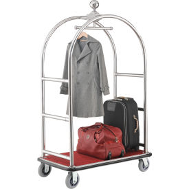 """Global Industrial™ Best Value Silver Stainless Steel Bellman Cart Curved Uprights 6"""" Casters"""
