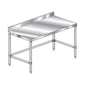 "Aero Manufacturing 2TSBX-30144 144""W x 30""D Stainless Steel Workbench 4"" Backsplash and Crossbracing"