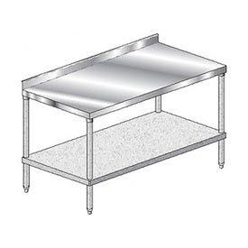 "Aero Manufacturing 3TGS-36132 132""W x 36""D Stainless Steel Workbench, 2-3/4"" Backsplash & Shelf"