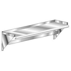 "Aero Manufacturing 3WSP-1072 72""W x 10""D Deluxe SS NSF Wall Mounted Shelf w/ Single Bar Pot Rack"