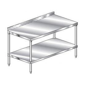 "Aero Manufacturing 4TSS-24132 132""W x 24""D Stainless Steel Workbench, 2-3/4"" Backsplash, SS Shelf"