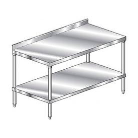 "Aero Manufacturing 4TSS-3684 84""W x 36""D Stainless Steel Workbench, 2-3/4"" Backsplash, SS Shelf"