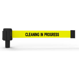 "Banner Stakes PLUS Banner Head, 15' Banner, Yellow ""Cleaning in Progress"" Banner, 5/PK"