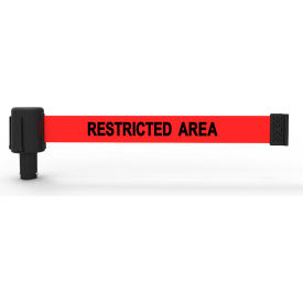 """Banner Stakes PLUS Banner Head, 15' Banner, Red """"Restricted Area"""" Banner"""