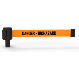 "Banner Stakes PLUS Banner Head, 15' Banner, Orange ""Danger - Biohazard"" Banner"