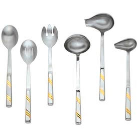 Alegacy 112GD - Goldcrest™ Slotted Stainless Steel Serving Spoon, Gold Trim - Pkg Qty 12