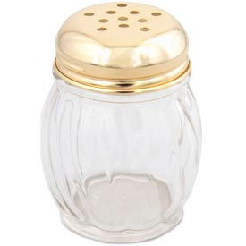 Alegacy 802XG - 6 Oz. Cheese Shaker Gold Top, Swirl Glass 36 Pack - Pkg Qty 3