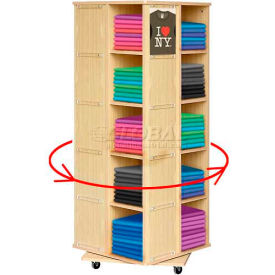 "20 Bin Rotating T-Shirt Display With Clear Front, 23-1/2""L x 23-1/2""W x 63""H, Maple"
