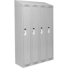 Clean-Line Assembled 1-Tier Lockers - 4 Lockers Wide w/ Slope Top - Gray