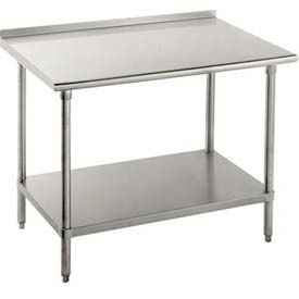 "Advance Tabco FMS-307 16 Ga Work Table 304 Stainless Top 1-1/2"" Backsplash SS Frame/Shelf 84 x 30"
