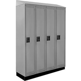 "ALB Plus 1-Tier Lockers 12""Wx18""Dx72""H Opening Locker W/Recessed Base and Sloped Top 4 Lockers Wide"