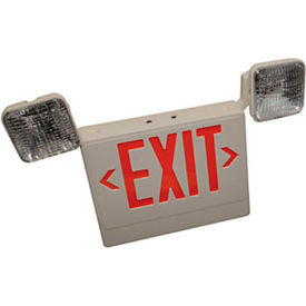 Faraday Lighting Led Halogen Exit Sign - Exit Sign/Emergency Light Combo - Plastic Housing