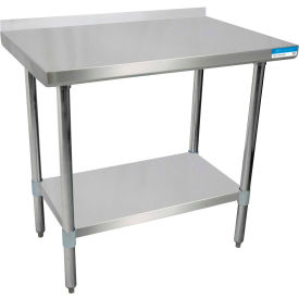 """BK Resources SVTR-1824, 18"""" W x 24"""" D T-430 18 ga. Stainless Steel Workbench with a 1.5"""" Backsplash"""