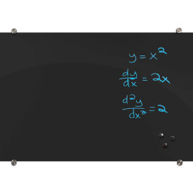 "Balt® Black Glass Dry Erase Board, 48""W x 36""H"