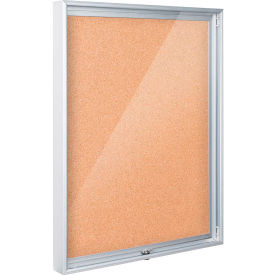 "Balt® Enclosed Bulletin Board, Natural Cork, 48""W x 36""H"