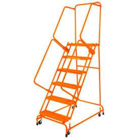 "Poignée étape 5 acier 24"" O roulant échelle 21"" étape supérieure D w / mains courantes - Orange w / Cal OSHA main courante"