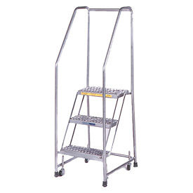 """3 Step 16""""W Stainless Steel Rolling Ladder W/ Rails - Heavy Duty Serrated Grating"""