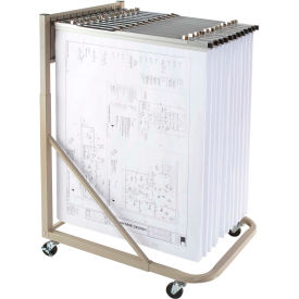 Brookside Design Rolling Blueprint Stand Bundle W/Dozen Pivot Hangers & Dozen 36