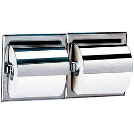 Bobrick® 600 Series Recessed Double Tissue Dispenser w/Hoods-Bright Polish - B699- Pkg Qty 1