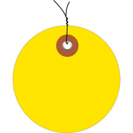 """Pre-Wired Plastic Circle Tags 3"""" Diameter Yellow - 100 Pack"""