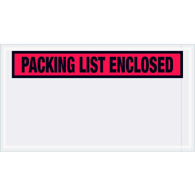 "Panel Face Envelopes - ""Packing List Enclosed"" 5-1/2 x 10"" Red, 1000/Case"